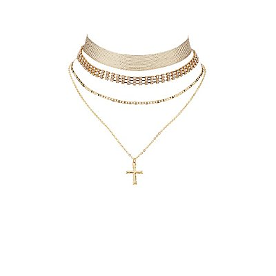 Embellished Layering Choker Necklaces - 3 Pack