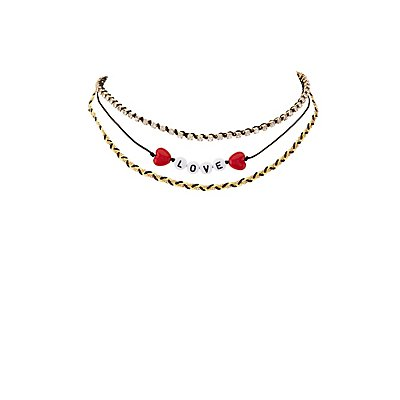 Embellished Love Choker Necklaces - 2 Pack