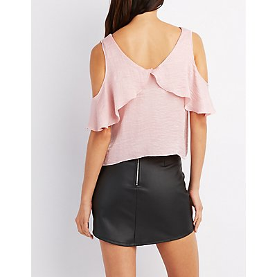 Silky Cold Shoulder Top