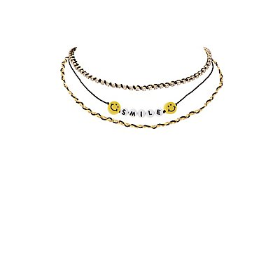 Smile Chainlink Choker Necklaces - 2 Pack