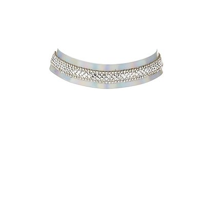 Embellished Holographic Choker Necklace