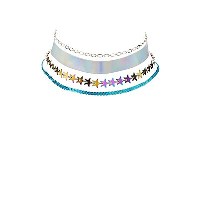 Embellished Choker Necklaces - 4 Pack