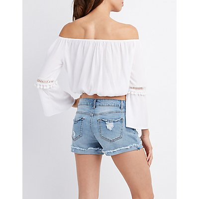 Off-The-Shoulder Lace-Up Crop Top