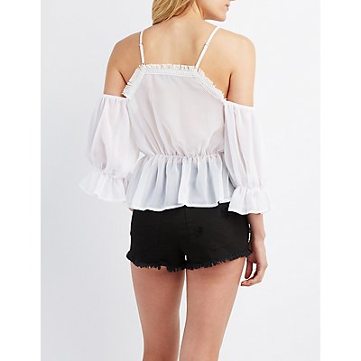 Crochet-Trim Lace-Up Cold Shoulder Top