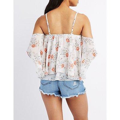 Floral Cold Shoulder Flutter Top