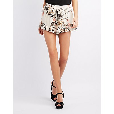Floral Ruffle-Trim Shorts