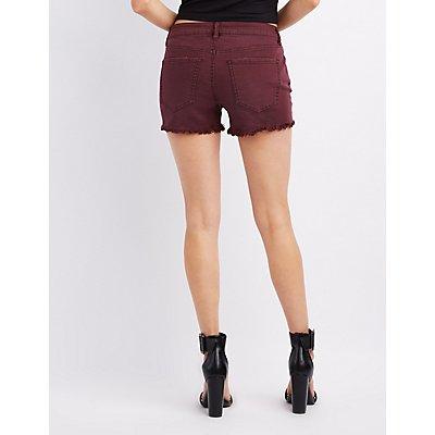 Refuge Mid-Rise Shortie Denim Cut-Off Shorts