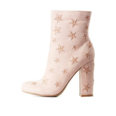 Star Embroidered Ankle Booties