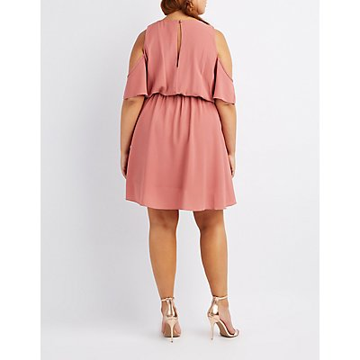 Plus Size Surplice Cold Shoulder Dress