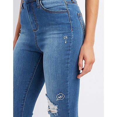 Cello Stamped Destroyed Skinny Jeans