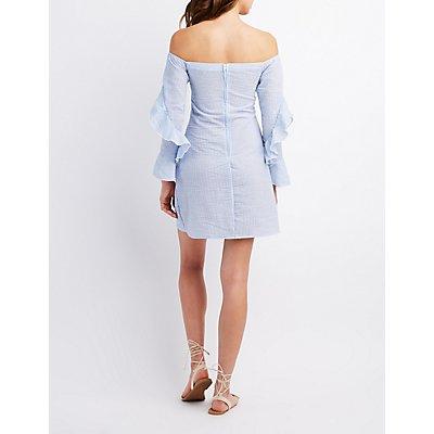 Striped Seersucker Off-The-Shoulder Dress