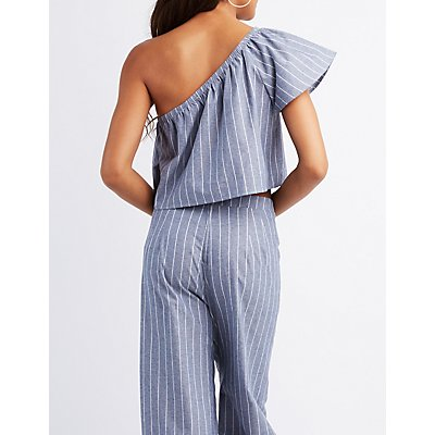 Striped One-Shoulder Crop Top