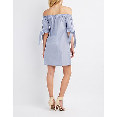 Striped Off-The-Shoulder Button-Up Dress