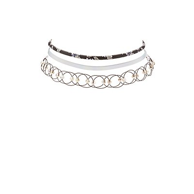 Plus Size Floral, Holographic & Tattoo Choker Necklaces - 3 Pack