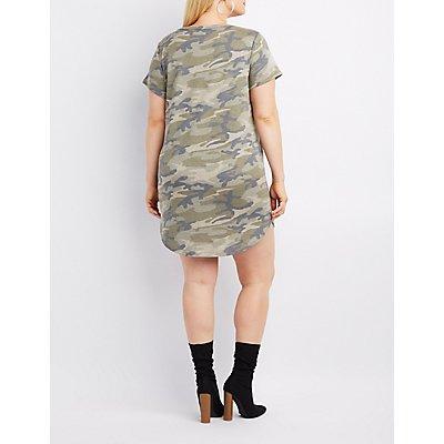 Plus Size Camo O-Ring T-Shirt Dress