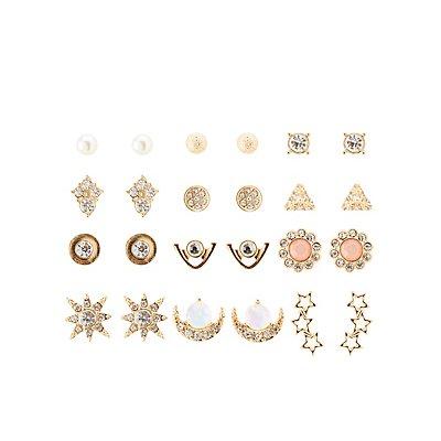 Embellished Celestial Stud Earrings - 12 Pack