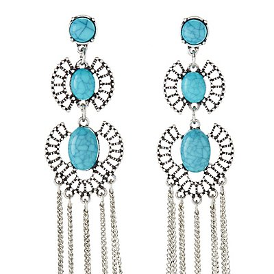 Faux Turquoise Fringe Statement Earrings