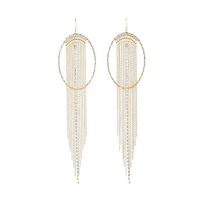 Textured Circle & Fringe Statement Earrings