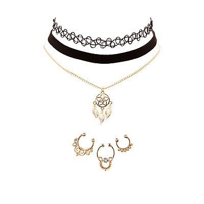 Septum Rings, Choker & Pendant Necklace Set