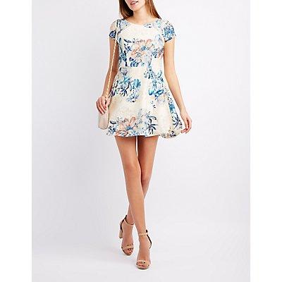 Printed Lace Skater Dress