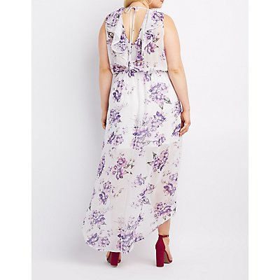 Floral Open-Back Surplice Maxi Dress