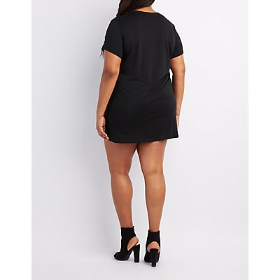 Plus Size Choker Neck Graphic T-Shirt Dress