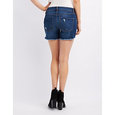 Refuge Girlfriend Destroyed Denim Shorts