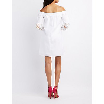 Crochet-Trim Off-The-Shoulder Dress