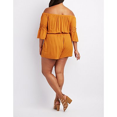 Plus Size Crochet-Trim Off-The-Shoulder Romper