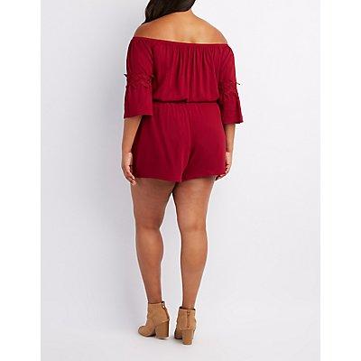 Plus Size Crochet-Trim Off-The-Shoulder Romper