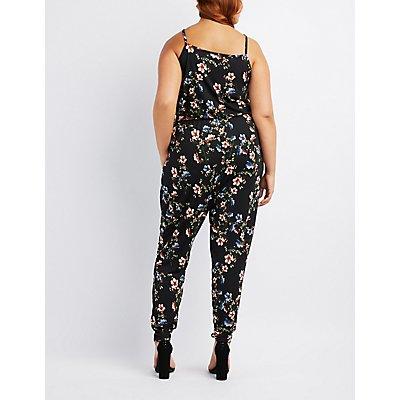 Plus Size Floral Surplice Jumpsuit