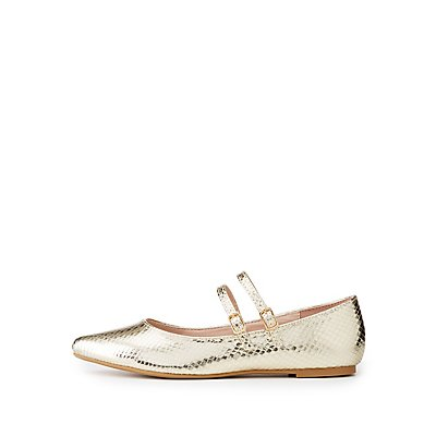 Faux Snakeskin Buckled Flats