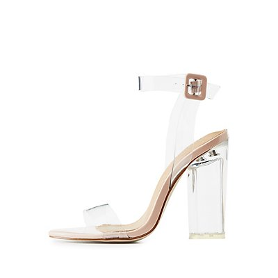 Clear Strap Lucite Heel Sandals