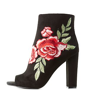 Floral Embroidered Peep Toe Ankle Booties