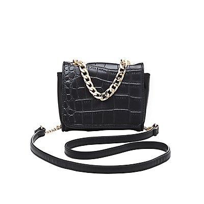 Embossed Crocodile Crossbody Bag