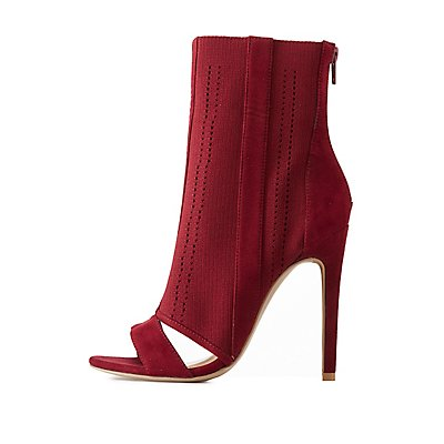 Perforated Cut-Out Peep Toe Booties