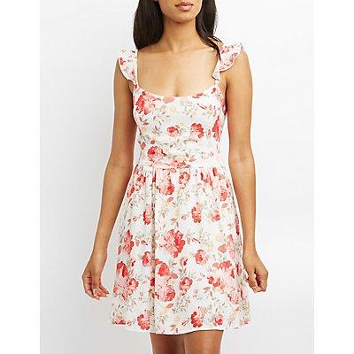 Polka Dot Smocked Skater Dress