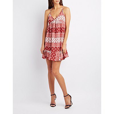 Border Print Babydoll Dress