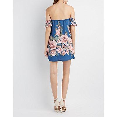 Floral Notched Off-The-Shoulder Dress