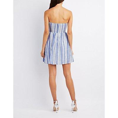 Striped Poplin Strapless Skater Dress