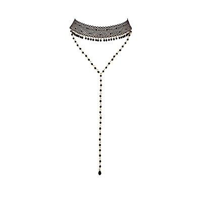 Mesh & Beaded Layered Choker Necklace