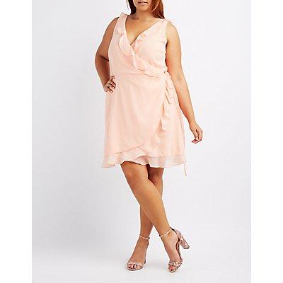 Plus Size Ruffle-Trim Wrap Dress