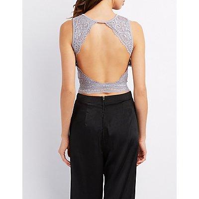 Lace Open Back Crop Top
