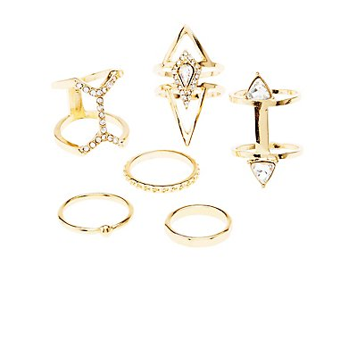Embellished Arrow Stackable Rings - 6 Pack