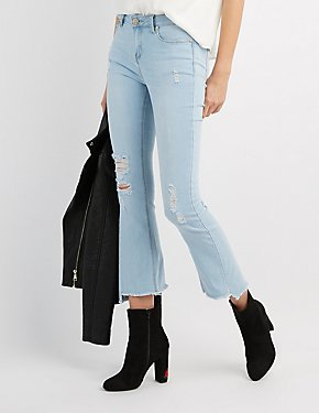 Destroyed Frayed Hem Flare Jeans