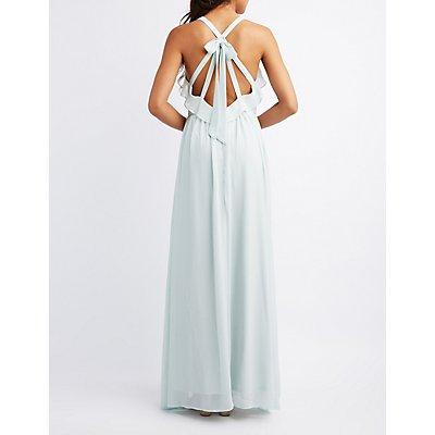 Strappy Ruffle-Trim Maxi Dress