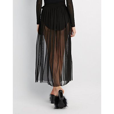 Mesh Wrap Maxi Skirt