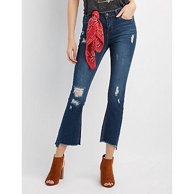 Destroyed Frayed Hem Flare Jeans