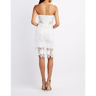 Embroidered Crochet Bodycon Dress