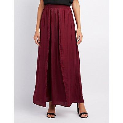 Satin Double Slit Maxi Skirt